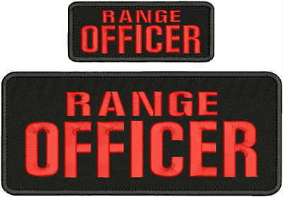 RANGE  OFFICER embroidery patches 4x10 And 2x5  hook on back bal/red