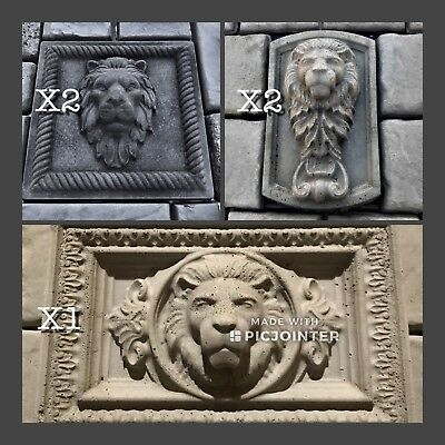 Lions Head Concrete Casting Molds 5pcs