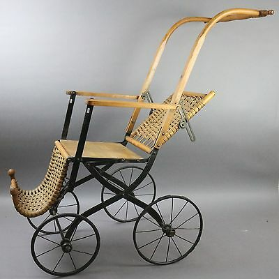 Antique Victorian Wicker Doll Stroller