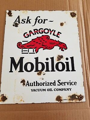 Mobil Oil Gargoyle Authorized Service Porcelain Sign Gas Station Vintage decor