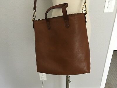 """ccdc840d8 Madewell Zip-Top Transport Crossbody Leather Bag English Saddle Color 10"""" X  10"""""""