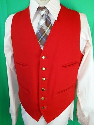 "Vintage 1960s Bright Red Pure Wool Waistcoat Formal Mod Steampunk 38-39"" Chest"