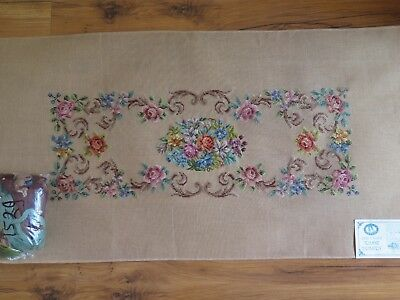 1529 QUEEN ADELAIDE large tramme tapestry kit, petit point, with wool, FLOWERS