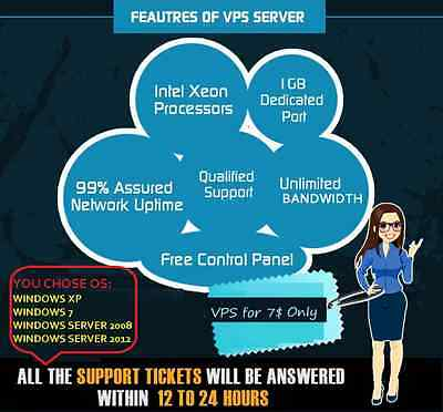 Fully Activated & Licensed Top Windows Vps, 2Gb Ram,100Gb Hdd,Unlimited Traffic