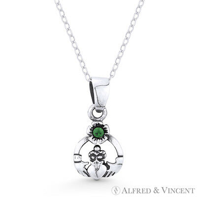 Irish Claddagh CZ Crystal Heart Celtic Luck Charm Pendant in 925 Sterling Silver