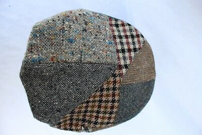 940a0661 VTG Newsboy Hat Irish Wool Donegal Tweed Cap Men Size 7 57 Ireland Plaid  Patch