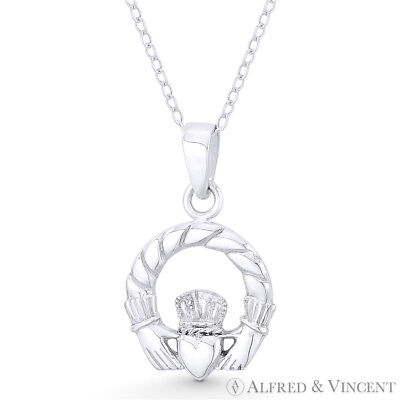 Irish Claddagh Heart Celtic Luck Charm Necklace & Pendant in 925 Sterling Silver