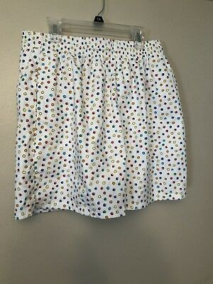 Vintage 1980s Polka Dot Mens Swimsuit Shorts Large White