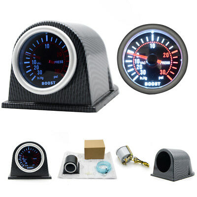 2'' 52mm Universal Car LED Turbo Boost Gauge Meter Pointer 0-30 PSI W/ Pod Smoke