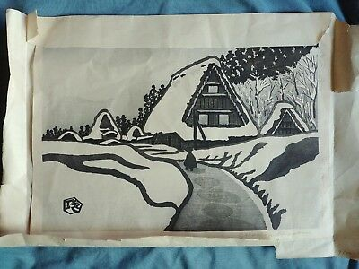 Gihachiro Okuyama (Japanese 1907-1981) Woodblock Pencil Signed