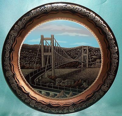 Estate Collectable Istanbul Souvenir Copper Hanging Wall Display Plate Vintage