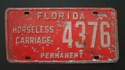 Vintage Florida DMV Horseless Carriage Permanent License Plate Number 4376