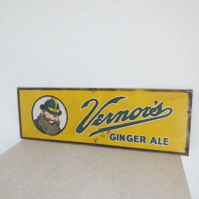 "LARGE VERNORS GINGER ALE STEEL SIGN ORIGINAL SODA POP USA 30"" x 10"" Very Nice!"