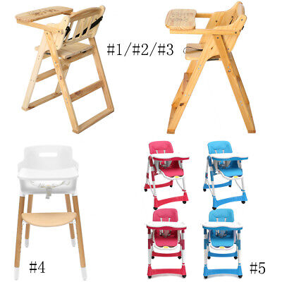 Baby Kid High Chair Stool Adjustable Wood Childcare Feeding Highchair With Tray