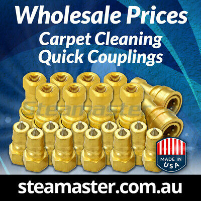 Carpet Cleaning Quick Coupling WHOLESALE 10 Brass Female & 10 Brass Male ¼""