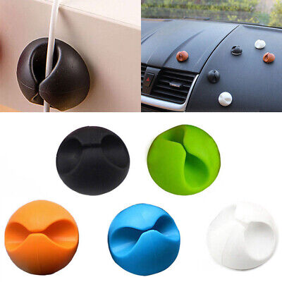 6pcs Car Windshield USB Cable Sticky Clip Wire Cord Holder Desk Self-Adhesive