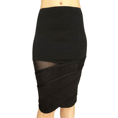 NS Activewear SAMPLE SALE Stretch Straight Black Casual Sport Skirt With Mesh