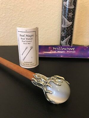 """Abby Willowroot Real Magic Wand 100% Lead-Free Pewter 10"""" Long Wood and Pewter"""