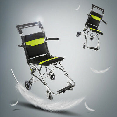 Portable Folding Transport Chair Light Wheelchair Aluminum Patient Bearing 75KG