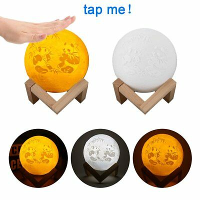 Rechargeable 3D Print Moon Lamp Touch Control LED Night Light Decoration #N