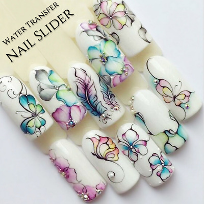 Nail Art Water Transfer Stickers Flower Butterfly Decals Manicure DIY Decoration