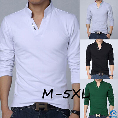 Fashion Mens Slim Fit V Neck Long Sleeve Muscle Tee T-shirt Casual Tops Blouse