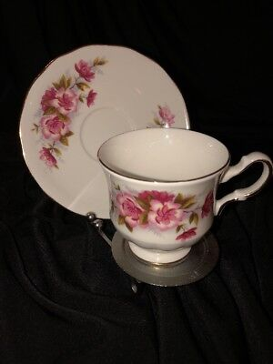 Queen Anne Bone China Tea Cup And Saucer Set Pink Flowers England Vtg Rare