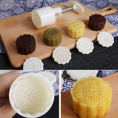 75g Mooncake Mold + 6 Flower Stamps DIY Baking Pastry Round Moon Cake Mould Tool