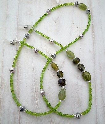 * Green Indian * Glasses Chain  Spectacles Holder  Eyeglass Strap  Beaded Cord