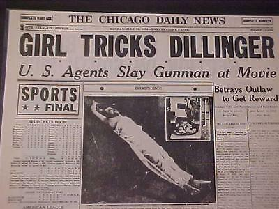 Vintage Newspaper Headline~Crime Outlaw Gangster Dillinger Gun Shot Dead Killed
