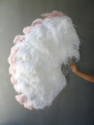 White tip dye beige wood Large XL 2 Layers Ostrich Feather Fan with leather Bag