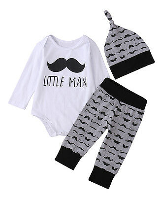 Canis 3Pcs Newborn Baby Boy Long Sleeve Romper Jumpsuit Pants Hat Clothes Outfit