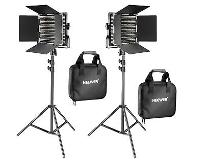 Neewer 2 Pack Bi-color 660 LED Video Light and Stand Kit - Studio Photo Video