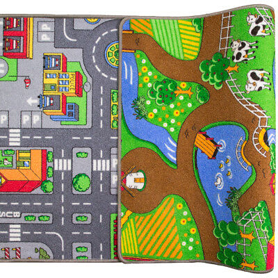 Two Sided Fun Bright Kids Play Rug Roads Mat Farm Animals Fun Childs Bedroom Mat