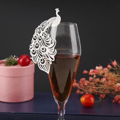 50pcs Hollow Peafowl Bird Wine Glass Cup Paper Cards Wedding Party Decor