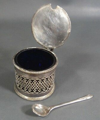 1900 English Henry Williamson Silverplate Filigree Cobalt Glass Sugar Bowl&Spoon