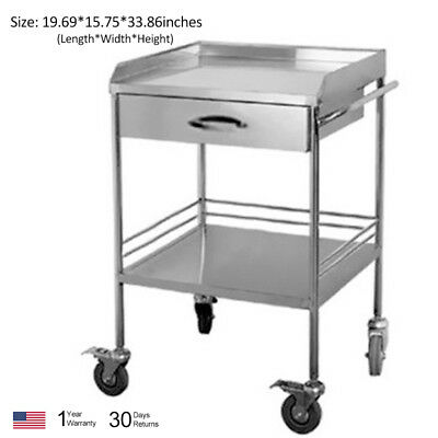 Thick Portable 2 Layers With One Drawer Serving Medical Dental Cart Trolley WCV