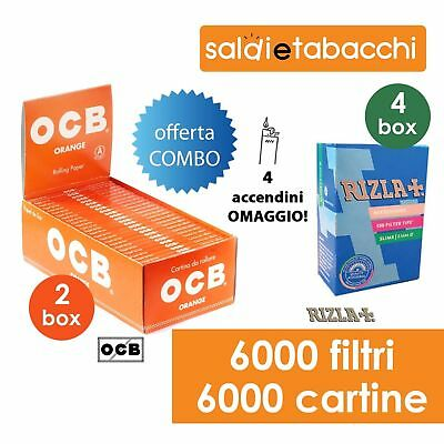6000 Filtri Rizla Slim + 6000 Cartine Ocb Orange Corte + 4 ACCENDINI OMAGGIO