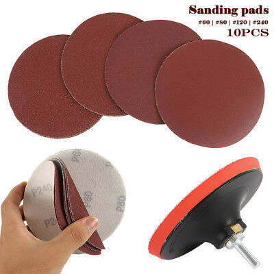 10 x 125mm Mixed Grade Sanding Disc Drill Angle Grinder Mount Rubber Backing Pad