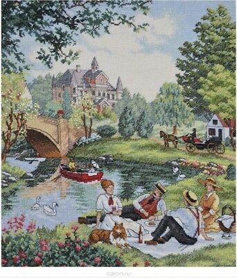 "DIMENSIONS GOLD COLLECTIONS""PICNIC ON THE LAWN""CROSS STITCH KIT Kreuzstich STICK"