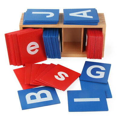 52Pcs Wooden Montessori Sandpaper Alphabets Card Letter Kids Early Education Toy