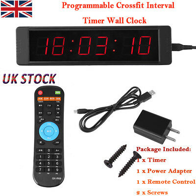 Programmable Crossfit Interval Timer Wall Clock w/Remote For Fitness Training bs