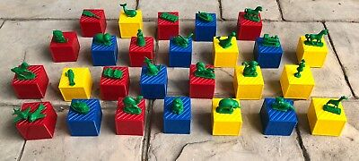 Vintage Tupperware Busy Blocks With 27 Green Inserts Complete Retro