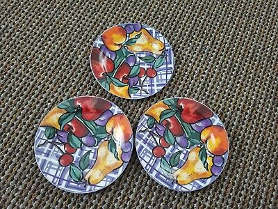 3 Gabbay Fusion Salad Plates. Fruit Design, 7.5 Inch Plates