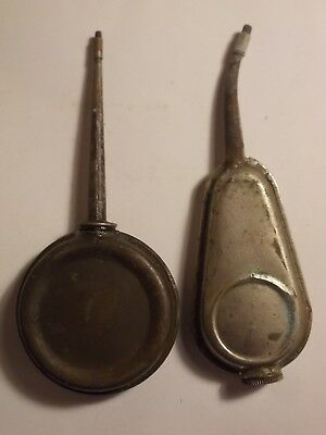 2 Old Steel & Brass Oil Can Oilers in Good Working Cond. G/VG
