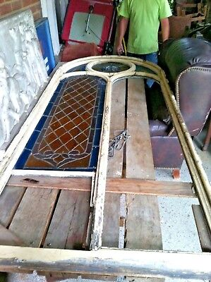 HUGE Late 1800s Antique HUGE Salvaged CHURCH STAINED GLASS ARCH WINDOWS Set