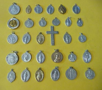 Vintage Religious aluminum saint medals silver/gold color-lot of 30 #D