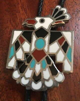 Men's Vintage Silver Tone Zuni Thunderbird Inlaid Style Leather Bolo Tie