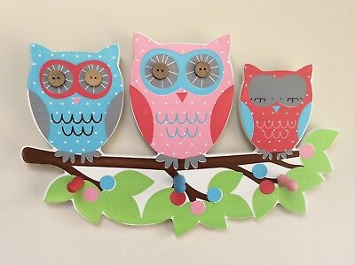 Sass & Belle - OWL ON A BRANCH - TRIPLE HOOK CHILDRENS BEDROOM, PLAYROOM