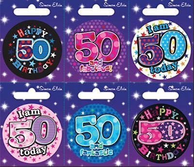 Simon Elvin I AM 50 TODAY Happy 50th Birthday Badge Mens Ladies Pink Blue 55mm
